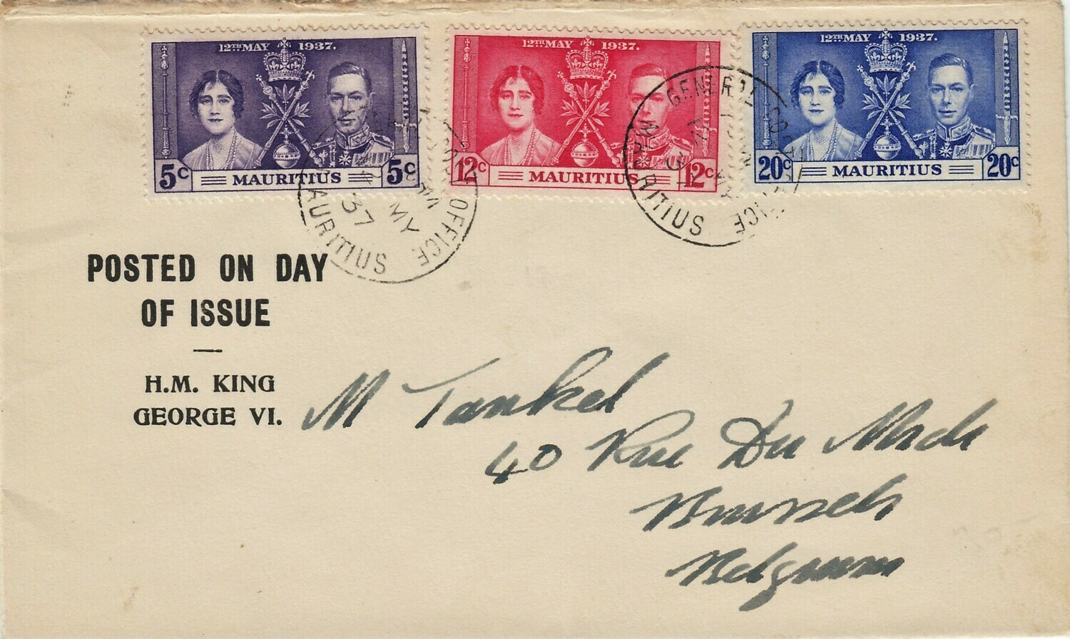 Mauritius 1937 KGVI Coronation FDC with Line by Sceptre Variety on 20c