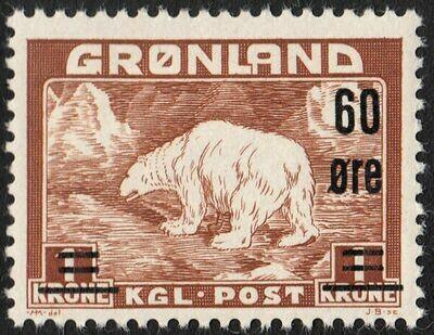 Greenland 1956 Polar Bear Overprint 60� on 1 kroner MH