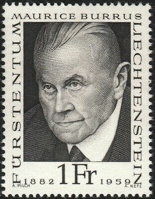 Liechtenstein 1968 1f Black Burrus Pioneer of Philately MUH