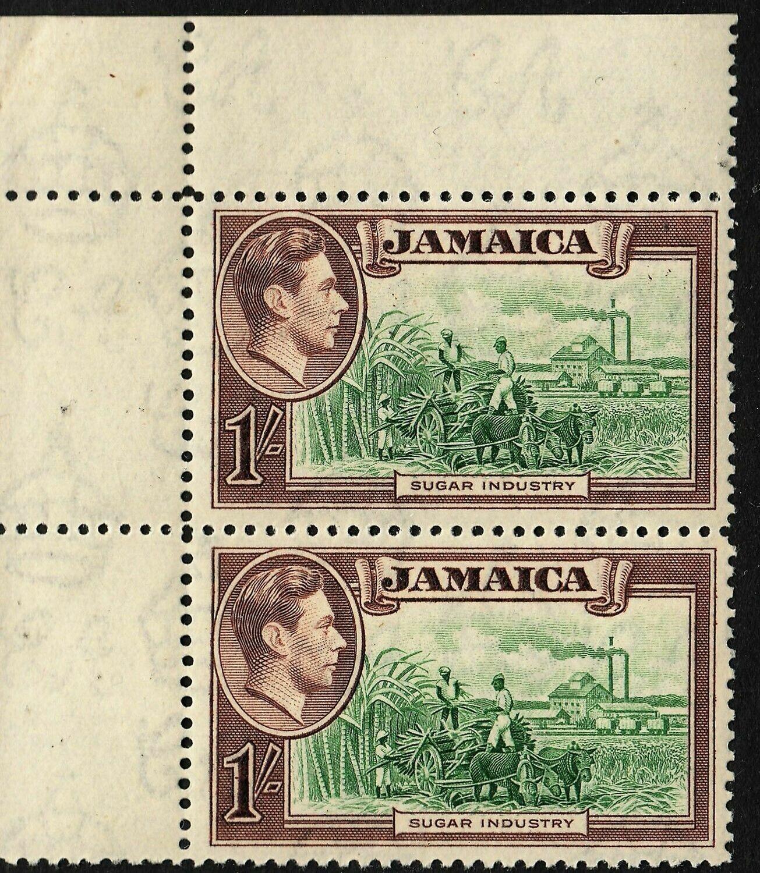 Jamaica 1938 KGVI 1/- Sugar Industry Corner Pair MUH