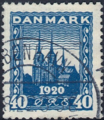 Denmark 1920 40ore Blue Recovery of Northern Schleswig VFU