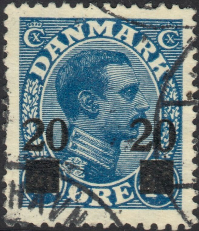 Denmark 1926 20ore on 40ore Blue FU