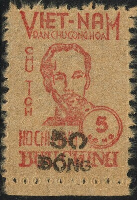 Vietnam (North) 1956 50d on 5d Red Ho Chi Minh Marginal MNG as Issued