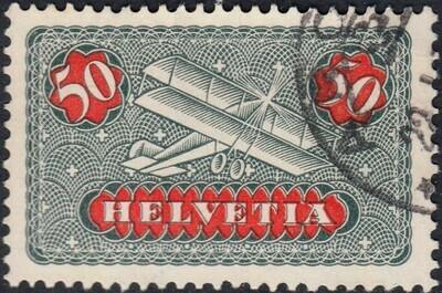 Switzerland 1923 50c Greay & Red Airmail VFU