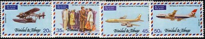 Trinidad & Tobago 1977 QEII 50th Anniversary of Airmail Service Set MUH