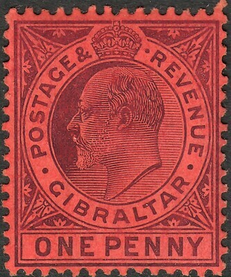 Gibraltar 1905 KEVII 1d Dull Purple on Red MH