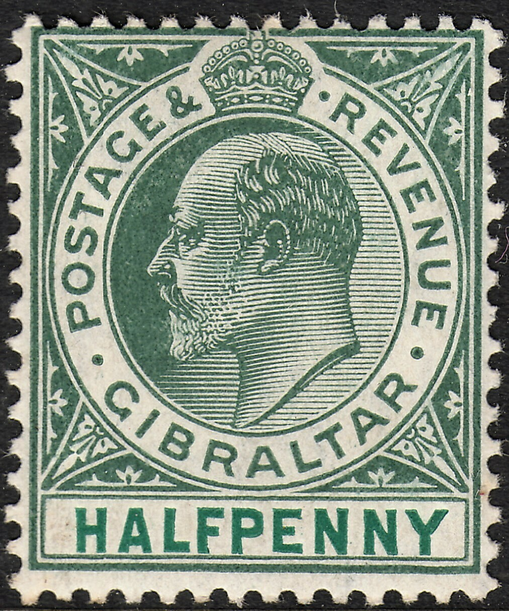 Gibraltar 1905 KEVII ½d Dull & Bright Green MVLH