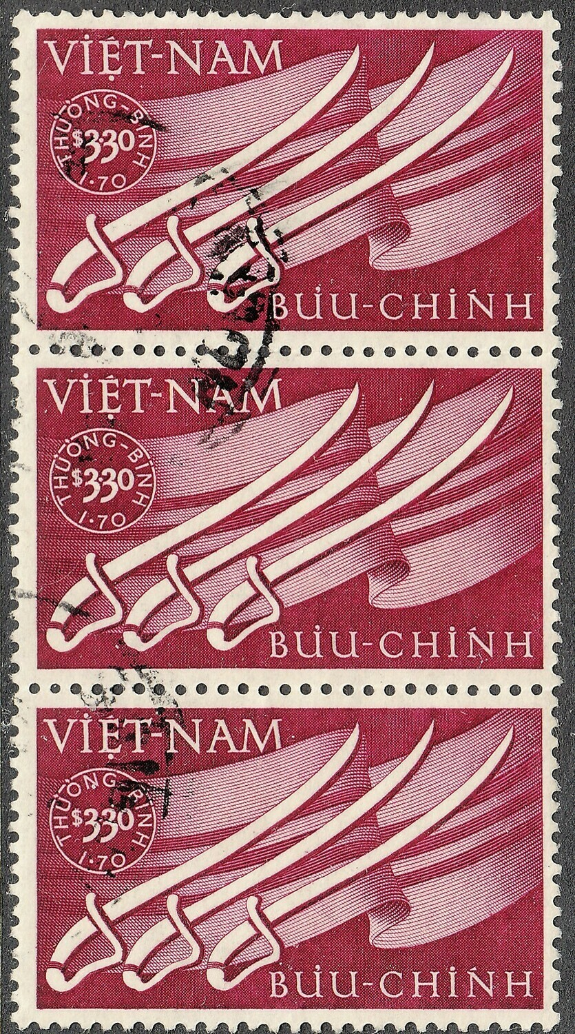 Vietnam 1952 3p.30 + 1p.70 Wounded Soldiers Relief Fund Strip of 3 VFU