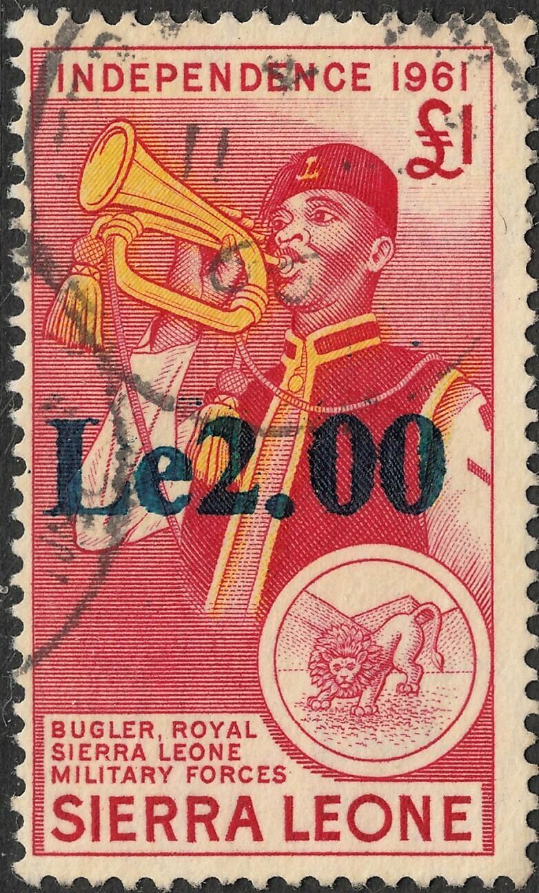 Sierra Leone 1965 QEII 2l on �1 Bugler FU