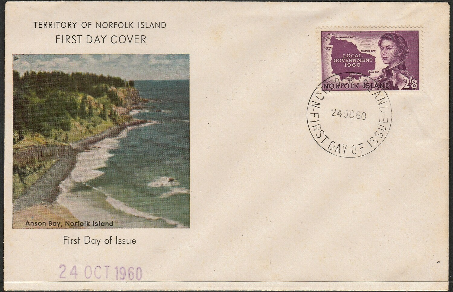 Norfolk Island 1960 QEII 2/8d Responsible Government Unaddressed FDC