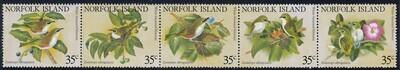 Norfolk Island 1981 Silvereye Se-Tenant Strip of 5 MUH