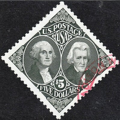 USA 1994 $5 Washington and Jackson VFU