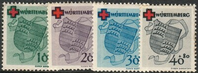 Germany (Wurttemburg) 1949 Red Cross Fund Set MH