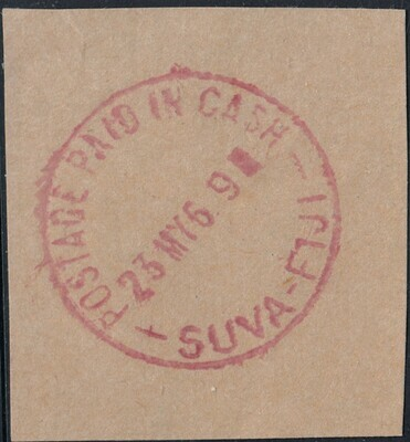 """Fiji 1969 Suva """"Postage Paid in Cash"""" Red Postmark on Piece"""