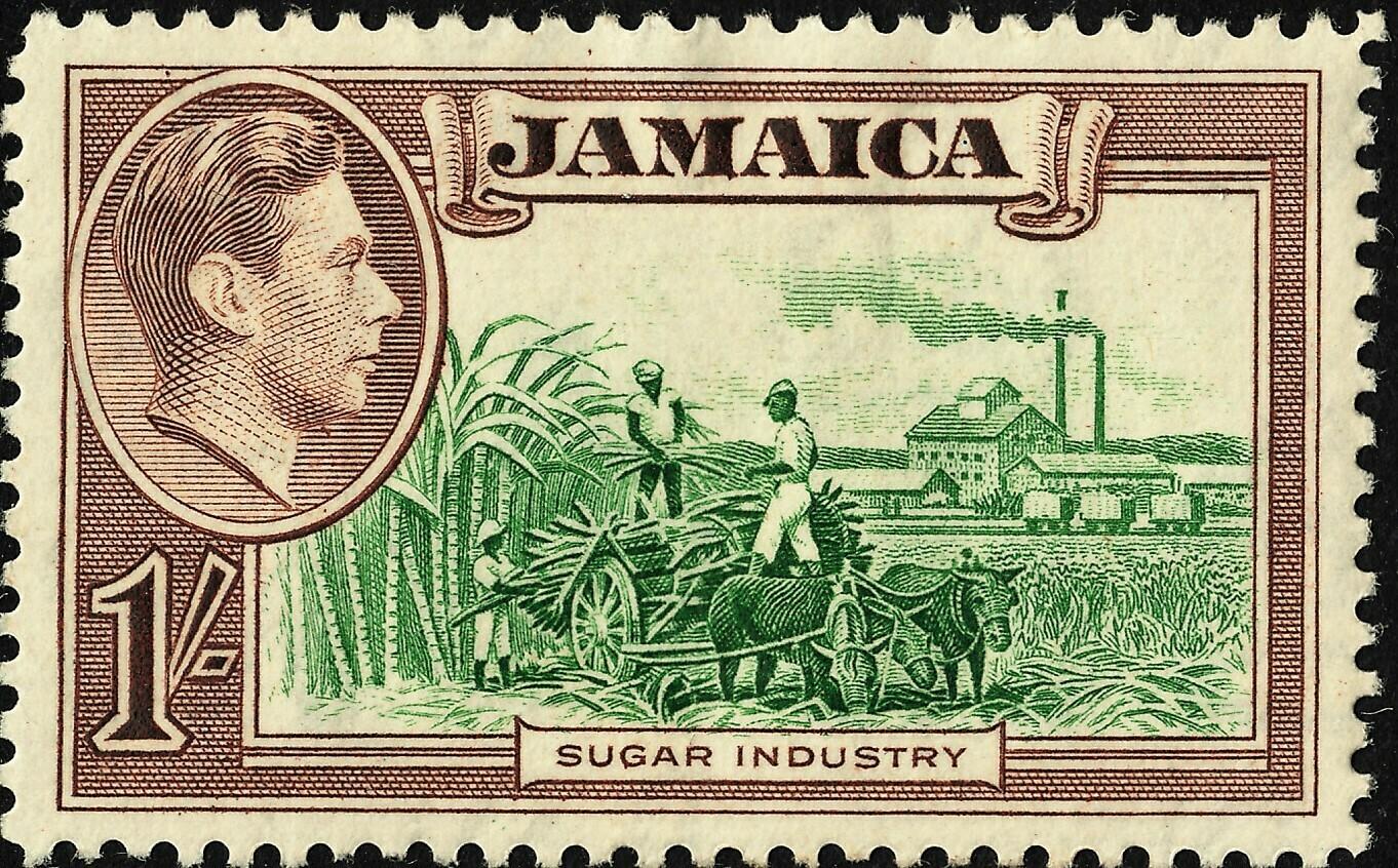 Jamaica 1938 KGVI 1/- Green & Purple-Brown MH