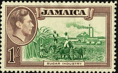 Jamaica 1938 KGVI 1/- Green & Purple-Brown MH