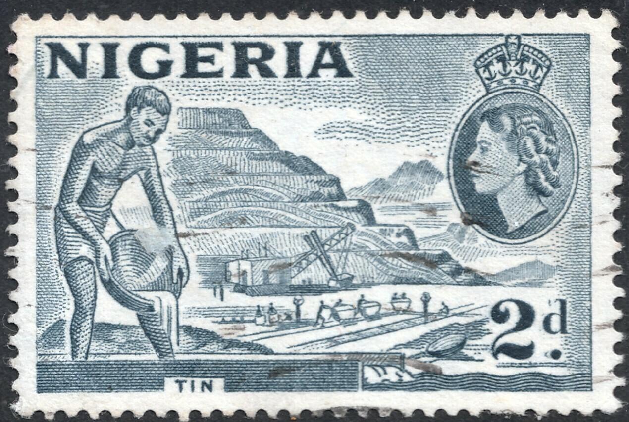 "Nigeria 1956 QEII 2d Tin Slate-Blue with ""2d Re-entry"" VFU"