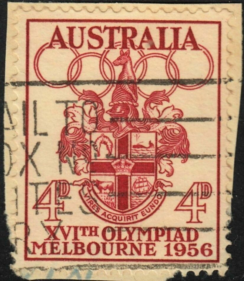 Australia 1956 QEII  4d Olympic Games with Harpoon Flaw Used on Paper