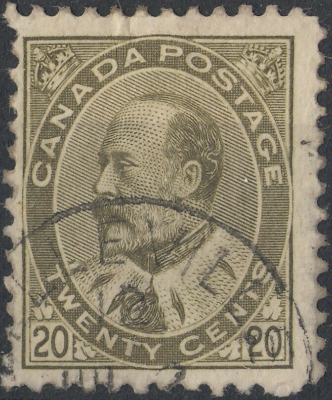 Canada 1904 KEVII 20c Pale Olive-Green Used