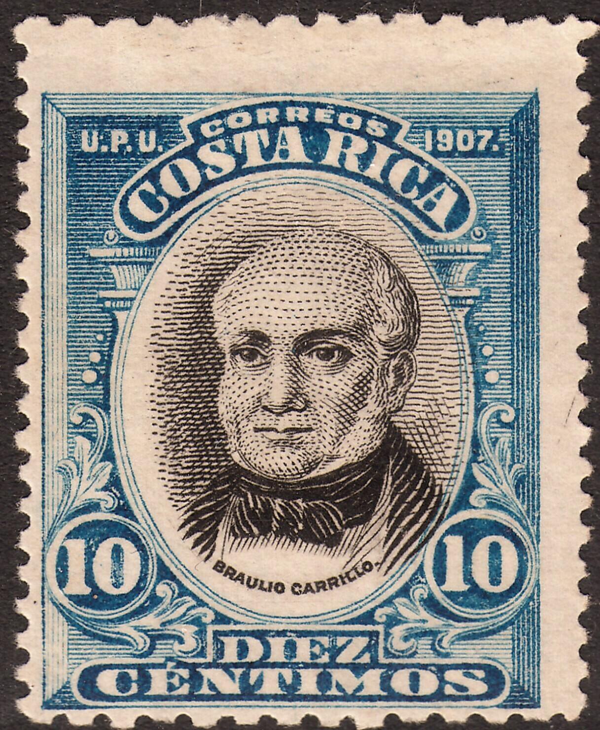 Costa Rica 1907 10c Black & Blue MH