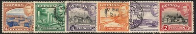 Cyprus 1938 KGVI Definitive Part Set to 9pi Used Two Scans
