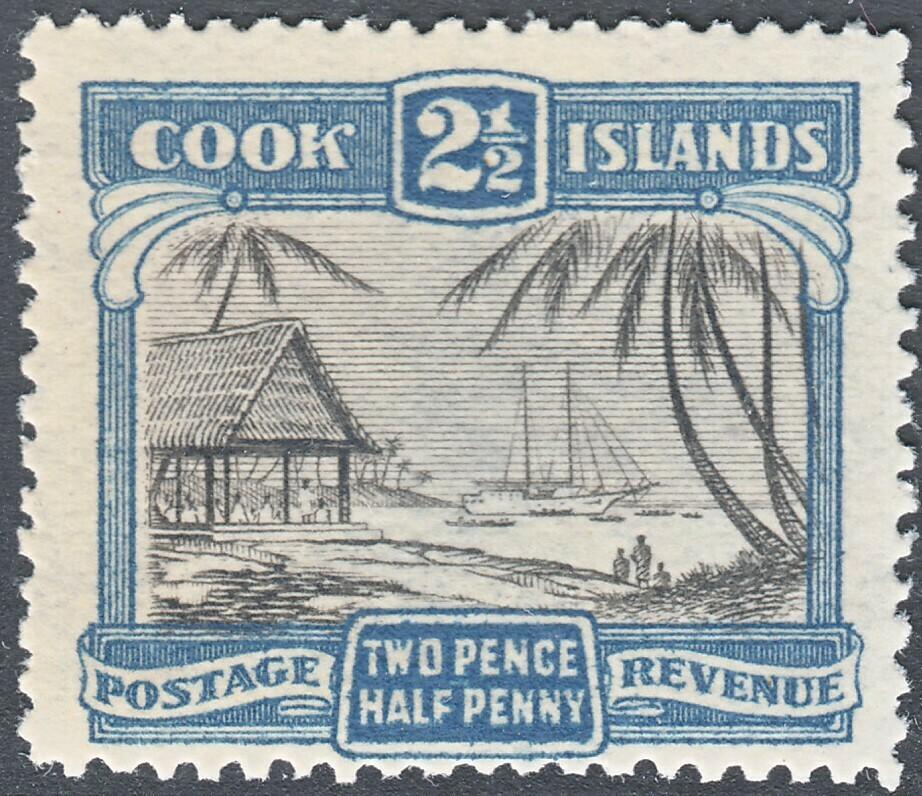 Cook Islands 1932 KGV 2½d Black & Deep Blue Perf 14 MUH