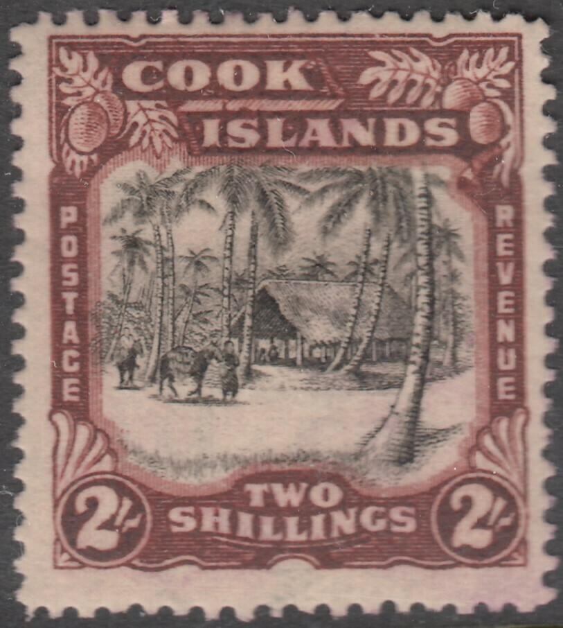Cook Islands 1938 KGVI 2/- Black & Red-Brown MH