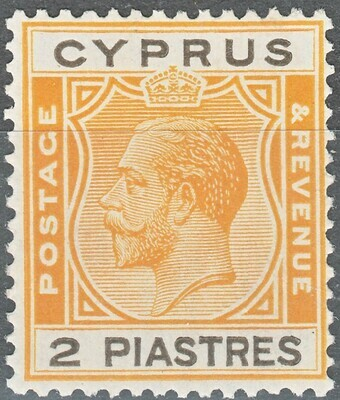 Cyprus 1925 KGV 2pi Yellow & Black MH