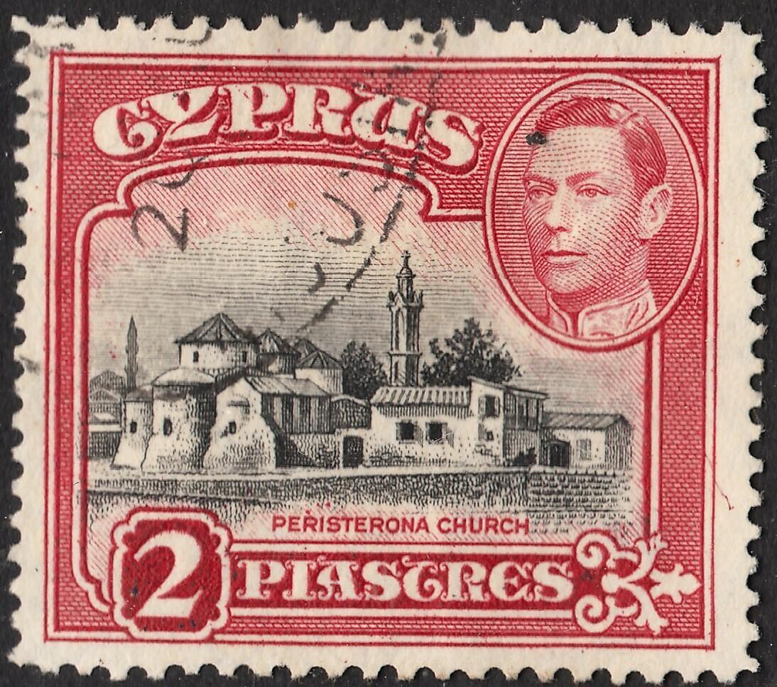 Cyprus 1944 KGVI 2pi Black & Carmine Perf 12½ x 13½ VFU