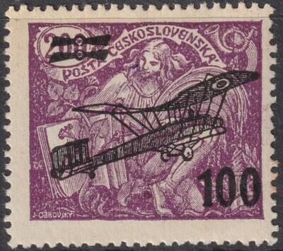 Czechoslovakia 1922 100h on 200h Air Mail Overprint MHR