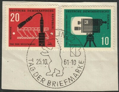DDR 1961 Stamp Day Set on FDC Cutout