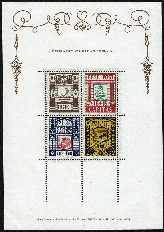 Estonia 1938 Social Relief Fund Miniature Sheet MH