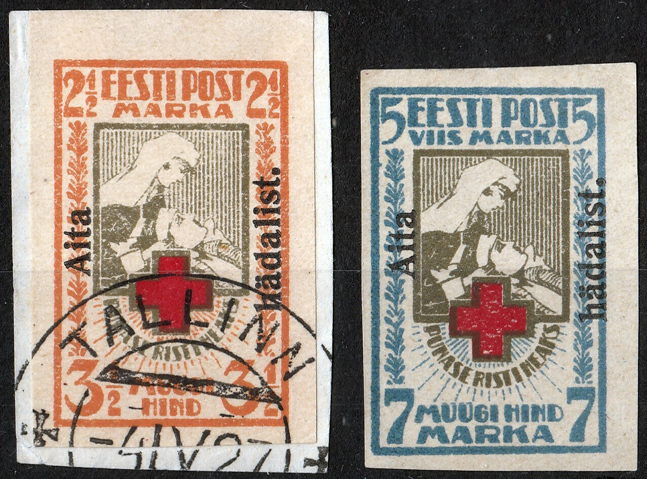 Estonia 1923 Aits Hadalist Overprints on Red Cross Imperf MH and FU
