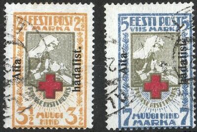Estonia 1923 Aits Hadalist Overprints on Red Cross Perforated FU