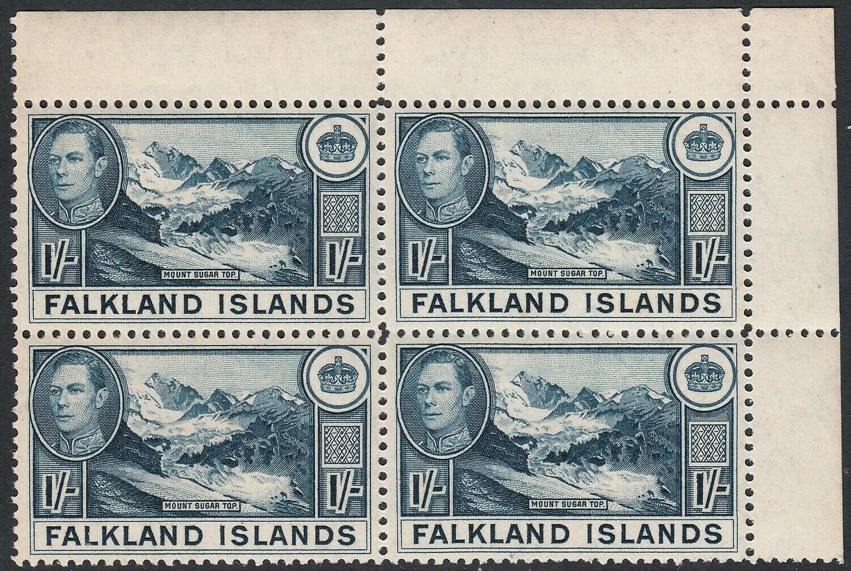 Falkland Islands 1938 KGVI 1/- Greenish Blue Corner Marginal Block of 4 MUH