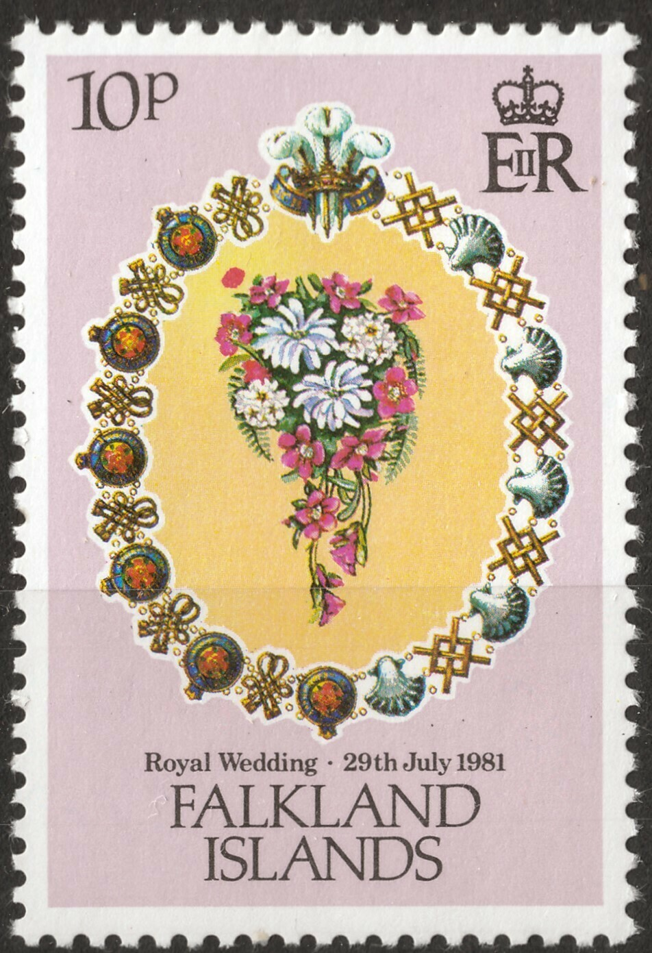 Falkland Islands 1981 QEII 10p Royal Wedding with Extra Flower Variety MUH