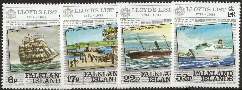 Falkland Islands 1984 250th Anniversary of Lloyd's List Set MUH