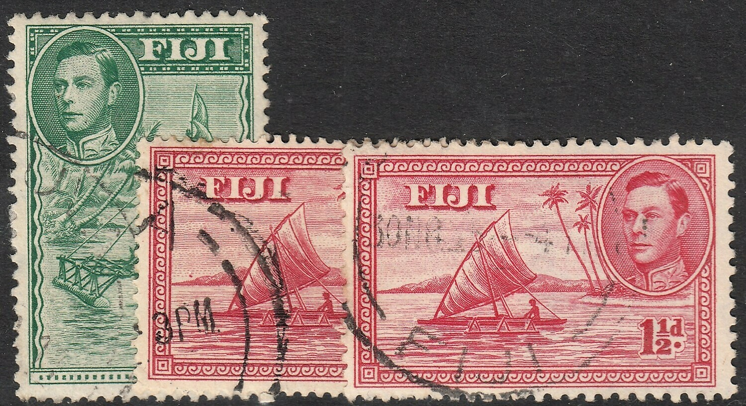 Fiji 1938 KGVI ½d and 1½d Perf Variations Used