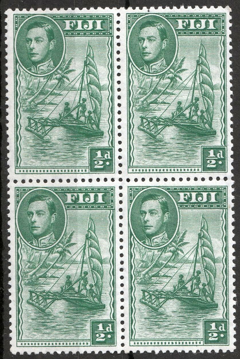 Fiji 1948 KGVI ½d Green Perf 12 Block of 4 MUH