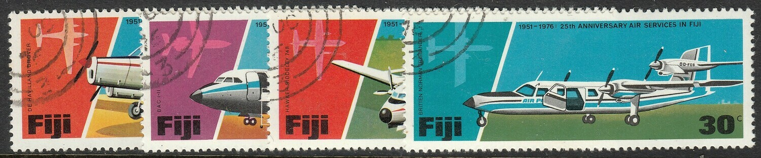 Fiji 1976 QEII 25th Anniversary of Air Services Set CTO
