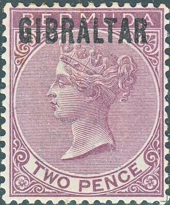 Gibraltar 1886 QV 2d Overprinted on Bermuda MH