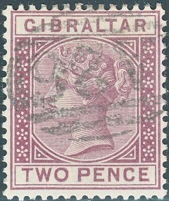 Gibraltar 1886 QV 2d Brown-Purple FU