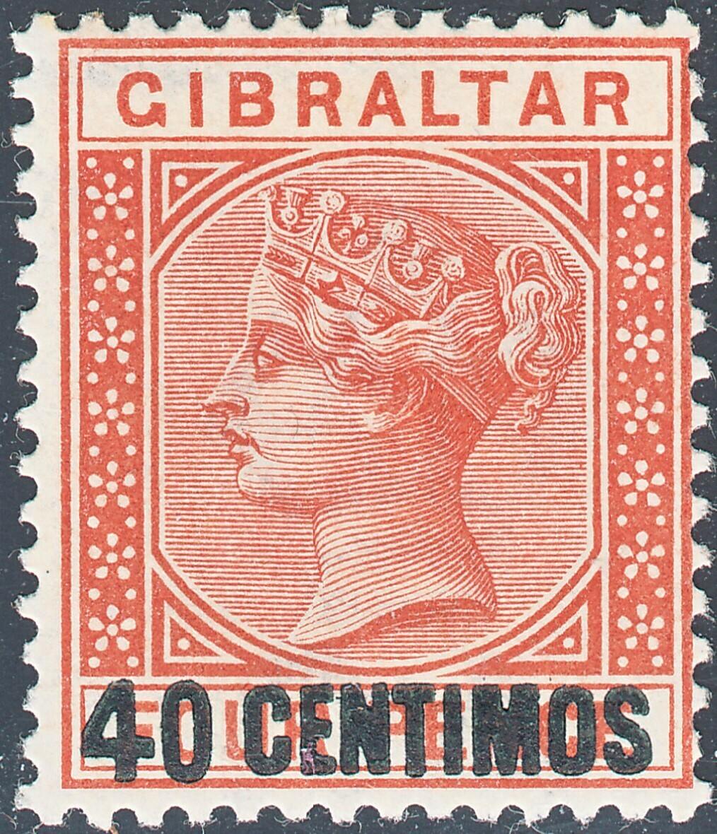 Gibraltar 1889 QV 40c on 4d Orange-Brown MH