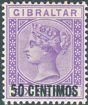 Gibraltar 1889 QV 50c on 6d Bright Lilac MH