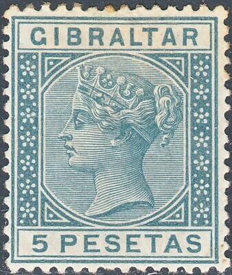 Gibraltar 1889 QV 5p Slate-Grey MH