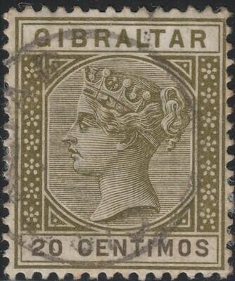 Gibraltar 1896 QV 20c Olive-Green & Brown VFU