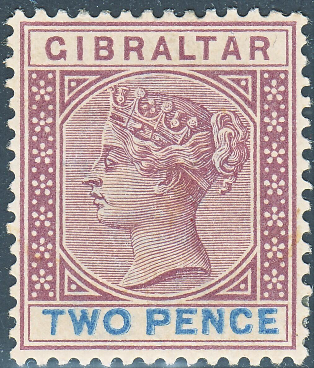 Gibraltar 1898 QV 2d Brown-Purple & Ultramarine MH