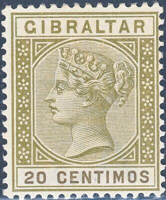 Gibraltar 1896 QV 20c Olive-Green MH