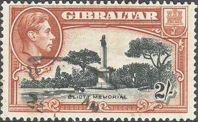 Gibraltar 1938 KGVI 2/- Black & Brown Perf 13½ FU