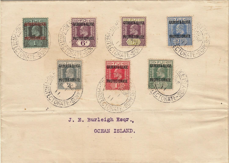 Gilbert & Ellice Islands 1911 Definitives Set of 7 on Cover